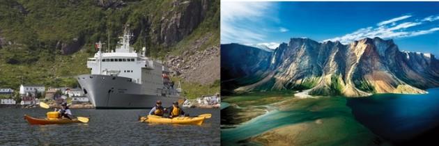 Jocelyn Pride CSE OOE kayaks and Akademik Ioffe, Francois, Newfoundland
